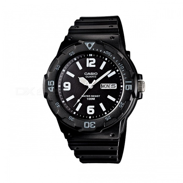 Casio MRW-200H-1B2VDF Sports Watch - Black/White (Without Box)Sport Watches<br>Form ColorBlackModelMRW-200H-1B2VDFQuantity1 DX.PCM.Model.AttributeModel.UnitShade Of ColorBlackCasing MaterialplasticWristband MaterialplasticSuitable forAdultsGenderUnisexStyleWrist WatchTypeSports watchesDisplayAnalogMovementQuartzDisplay Format12 hour formatWater ResistantWater Resistant 10 ATM or 100 m. Suitable for recreational surfing, swimming, snorkeling, sailing and water sports.Dial Diameter4.46 DX.PCM.Model.AttributeModel.UnitDial Thickness1.16 DX.PCM.Model.AttributeModel.UnitWristband Length22 DX.PCM.Model.AttributeModel.UnitBand Width2.2 DX.PCM.Model.AttributeModel.UnitBatterySR626SWPacking List1 * MRW-200H-1B2V Watch<br>