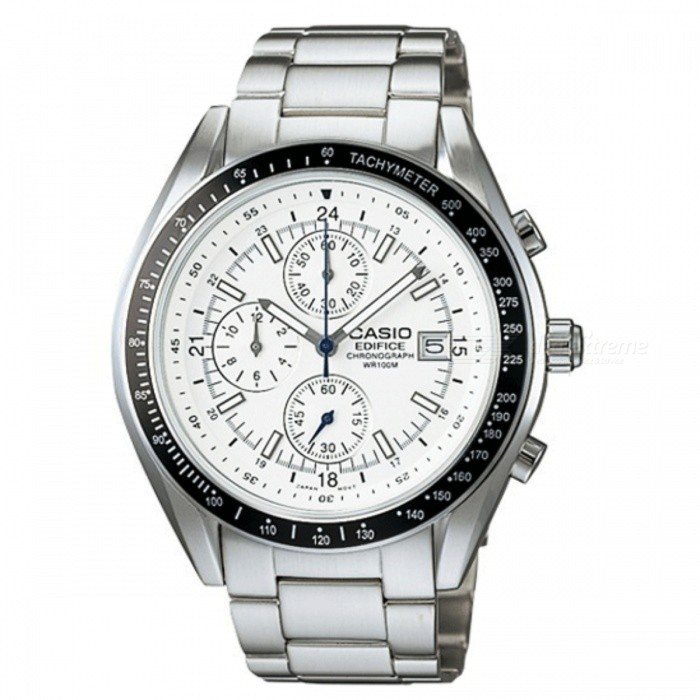 Casio Chrono Edifice Mens Tachymeter EF503D-7AVQuartz Watches<br>Form ColorSilver + WhiteModelEF-503D-7AVUDFQuantity1 pieceShade Of ColorSilverCasing MaterialStainless steelWristband MaterialStainless steelSuitable forAdultsGenderUnisexStyleWrist WatchTypeCasual watchesDisplayAnalogMovementQuartzDisplay Format12 hour formatWater ResistantWater Resistant 10 ATM or 100 m. Suitable for recreational surfing, swimming, snorkeling, sailing and water sports.Dial Diameter4.65 cmDial Thickness1.04 cmWristband Length23 cmBand Width2 cmBatterySR927WOther FeaturesTachymeter<br>Screw Lock Back<br>Case / bezel material: Stainless steel<br>100-meter water resistance<br>Stainless Steel Band<br>One-touch 3-fold Buckle<br>Solid Band<br>1-second stopwatch<br>Measuring capacity: 11:5959<br>Measuring mode: Elapsed time <br>Date display <br>Regular timekeeping<br>Analog: 3 hands (hour, minute, stopwatch seconds),<br>3 dials (timekeeping second, stopwatch hours, stopwatch minutes) <br>Accuracy: ±20 seconds per montPacking List1 x EF-503D-7AV<br>