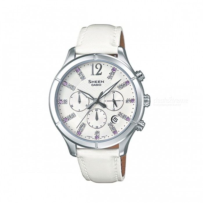 Casio SHE-5020L-7ADR Analog Watch - Silver/White (Without Box)Quartz Watches<br>Form  ColorSilver + WhiteModelSHE-5020L-7ADRQuantity1 DX.PCM.Model.AttributeModel.UnitShade Of ColorSilverCasing MaterialStainless steelWristband MaterialLeather BandSuitable forAdultsGenderWomenStyleWrist WatchTypeFashion watchesDisplayAnalogMovementQuartzDisplay Format12 hour formatWater ResistantFor daily wear. Suitable for everyday use. Wearable while water is being splashed but not under any pressure.Dial Diameter4.65 DX.PCM.Model.AttributeModel.UnitDial Thickness1.02 DX.PCM.Model.AttributeModel.UnitWristband Length20 DX.PCM.Model.AttributeModel.UnitBand Width2 DX.PCM.Model.AttributeModel.UnitBatterySR621SWPacking List1 x SHE-5020L-7ADR<br>