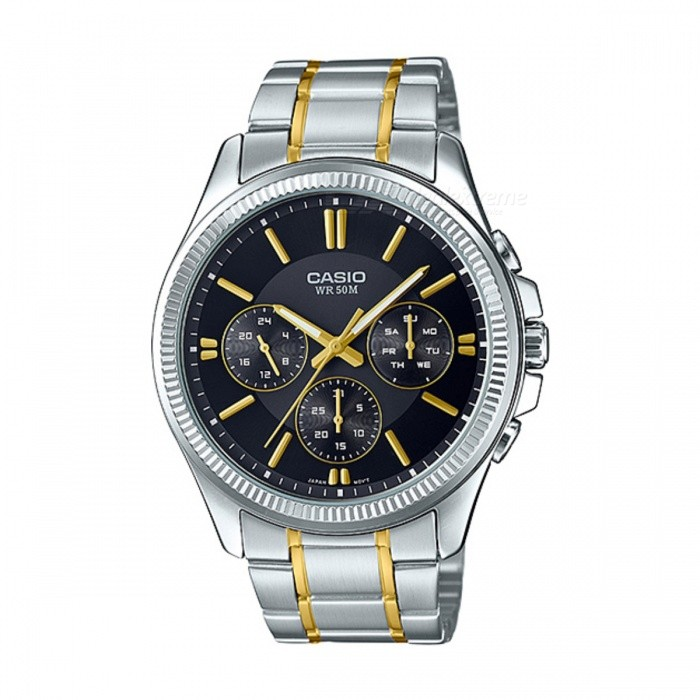 Casio MTP-1375SG-1AVDF Analog Watch - Silver + Black (Without Box)Quartz Watches<br>Form  ColorSilver + Black + Multi-ColoredModelMTP-1375SG-1AVDFQuantity1 DX.PCM.Model.AttributeModel.UnitShade Of ColorSilverCasing MaterialStainless steelWristband MaterialStainless steelSuitable forAdultsGenderMenStyleWrist WatchTypeCasual watchesDisplayAnalogMovementQuartzDisplay Format12 hour formatWater ResistantWater Resistant 5 ATM or 50 m. Suitable for swimming, white water rafting, non-snorkeling water related work, and fishing.Dial Diameter4.2 DX.PCM.Model.AttributeModel.UnitDial Thickness0.97 DX.PCM.Model.AttributeModel.UnitWristband Length22 DX.PCM.Model.AttributeModel.UnitBand Width2 DX.PCM.Model.AttributeModel.UnitBatterySR927SWPacking List1 x MTP-1375SG-1AVDF<br>