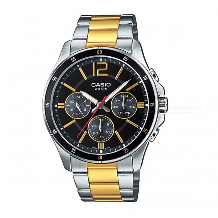 Casio MTP-1374SG-1AVDF Analog Watch - Silver + Black (Without Box)Quartz Watches<br>Form ColorSilver + Black + Multi-ColoredModelMTP-1374SG-1AVDFQuantity1 DX.PCM.Model.AttributeModel.UnitShade Of ColorSilverCasing MaterialStainless SteelWristband MaterialStainless SteelSuitable forAdultsGenderMenStyleWrist WatchTypeCasual watchesDisplayAnalogMovementQuartzDisplay Format12 hour formatWater ResistantWater Resistant 5 ATM or 50 m. Suitable for swimming, white water rafting, non-snorkeling water related work, and fishing.Dial Diameter4.35 DX.PCM.Model.AttributeModel.UnitDial Thickness1.04 DX.PCM.Model.AttributeModel.UnitWristband Length22 DX.PCM.Model.AttributeModel.UnitBand Width2 DX.PCM.Model.AttributeModel.UnitBatterySR927SWPacking List1 x MTP-1374SG-1AVDF Watch<br>