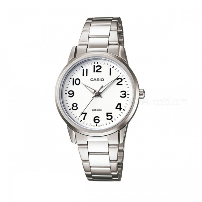 Casio LTP-1303D-7BVDF Analog Watch - Silver + White (Without Box)Quartz Watches<br>Form ColorSilver + WhiteModelLTP-1303D-7BVDFQuantity1 DX.PCM.Model.AttributeModel.UnitShade Of ColorSilverCasing MaterialStainless steelWristband MaterialStainless steelSuitable forAdultsGenderWomenStyleWrist WatchTypeFashion watchesDisplayAnalogMovementQuartzDisplay Format12 hour formatWater ResistantWater Resistant 5 ATM or 50 m. Suitable for swimming, white water rafting, non-snorkeling water related work, and fishing.Dial Diameter3.55 DX.PCM.Model.AttributeModel.UnitDial Thickness0.75 DX.PCM.Model.AttributeModel.UnitWristband Length20 DX.PCM.Model.AttributeModel.UnitBand Width1.5 DX.PCM.Model.AttributeModel.UnitBatterySR626SWPacking List1 x LTP-1303D-7BVDF<br>