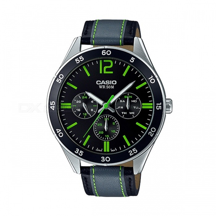 Casio MTP-E310L-1A3VDF Analog Watch - Silver/Black/Green (Without Box)Quartz Watches<br>Form  ColorSilver + Black + Multi-ColoredModelMTP-E310L-1A3VDFQuantity1 DX.PCM.Model.AttributeModel.UnitShade Of ColorSilverCasing MaterialStainless steelWristband MaterialLeatherSuitable forAdultsGenderMenStyleWrist WatchTypeCasual watchesDisplayAnalogMovementQuartzDisplay Format12 hour formatWater ResistantWater Resistant 5 ATM or 50 m. Suitable for swimming, white water rafting, non-snorkeling water related work, and fishing.Dial Diameter4.5 DX.PCM.Model.AttributeModel.UnitDial Thickness1.07 DX.PCM.Model.AttributeModel.UnitWristband Length22 DX.PCM.Model.AttributeModel.UnitBand Width2 DX.PCM.Model.AttributeModel.UnitBattery1 x SR927SWPacking List1 x MTP-E310L-1A3VDF<br>