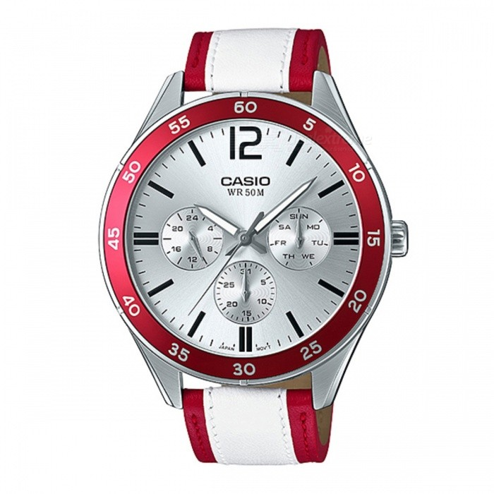 Casio MTP-E310L-4AVDF Analog Watch - Silver + Red (Without Box)Quartz Watches<br>Form  ColorSilver + Red + Multi-ColoredModelMTP-E310L-4AVDFQuantity1 DX.PCM.Model.AttributeModel.UnitShade Of ColorSilverCasing MaterialStainless steelWristband MaterialLeatherSuitable forAdultsGenderUnisexStyleWrist WatchTypeCasual watchesDisplayAnalogMovementQuartzDisplay Format12 hour formatWater ResistantWater Resistant 5 ATM or 50 m. Suitable for swimming, white water rafting, non-snorkeling water related work, and fishing.Dial Diameter4.5 DX.PCM.Model.AttributeModel.UnitDial Thickness1.07 DX.PCM.Model.AttributeModel.UnitWristband Length22 DX.PCM.Model.AttributeModel.UnitBand Width2 DX.PCM.Model.AttributeModel.UnitBatterySR927SWPacking List1 x MTP-E310L-4AVDF Watch<br>