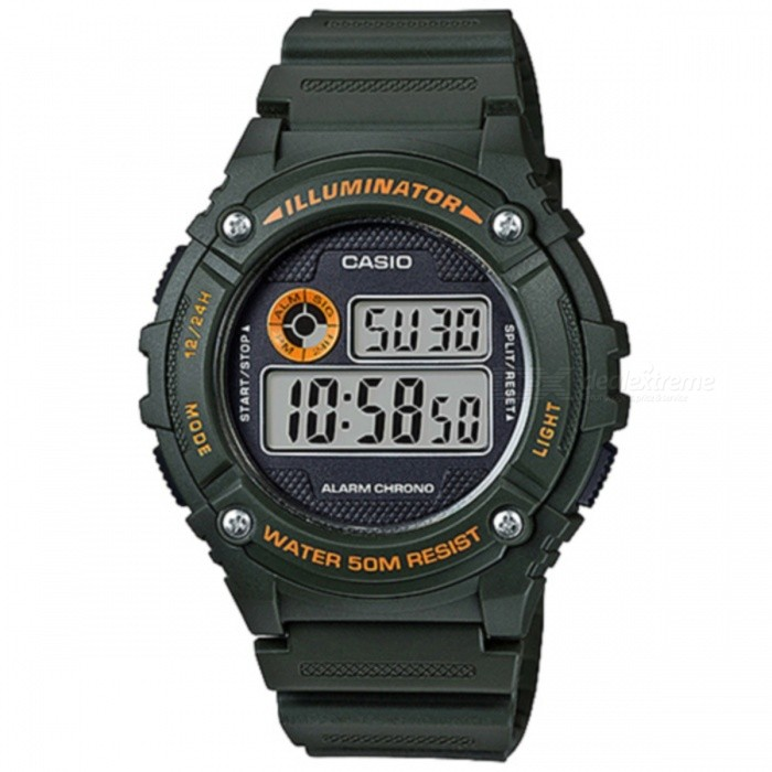Casio W-216H-3BVDF Sport Watch - Green (Without Box)Sport Watches<br>Form  ColorGreenModelW-216H-3BVDFQuantity1 DX.PCM.Model.AttributeModel.UnitShade Of ColorGreenCasing MaterialResinWristband MaterialResinSuitable forAdultsGenderMenStyleWrist WatchTypeSports watchesDisplayDigitalMovementQuartzDisplay Format12/24 hour time formatWater ResistantWater Resistant 5 ATM or 50 m. Suitable for swimming, white water rafting, non-snorkeling water related work, and fishing.Dial Diameter4.6 DX.PCM.Model.AttributeModel.UnitDial Thickness1.13 DX.PCM.Model.AttributeModel.UnitWristband Length22 DX.PCM.Model.AttributeModel.UnitBand Width2.5 DX.PCM.Model.AttributeModel.UnitBatteryCR2016Packing List1 x W-216H-3BVDF<br>