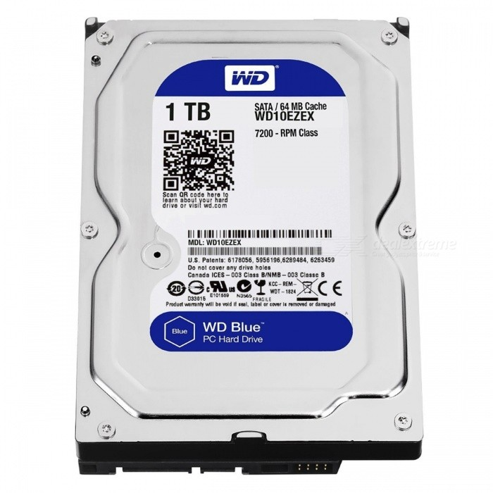 WD WD10EZEX 1TB HDD 7200RPMHDD &amp; SSD<br>Form  Color1TBModelWD10EZEXQuantity1 pieceMaterialMetal + plasticInterfaceSATA 3.0Capacity / ROM1TBForm Factor5.25Cache64MBMax Sequential Read159 MB/sMax Sequential Write155 MB/sOther FeaturesIntelliSeek, NoTouch ramp load technologyBrandWDTypeHDDApplicationDesktop PCPacking List1 x WD10EZEX<br>