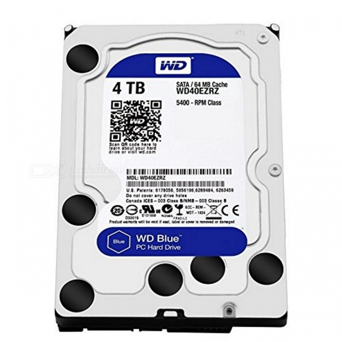 WD Blue 4TB WD40EZRZ Internal HDD 5400RPMHDD &amp; SSD<br>Form  Color4TBModelWD40EZRZQuantity1 pieceMaterialMetal + plasticInterfaceSATA 3.0Capacity / ROM4TB,4TBForm Factor5.25Max Sequential Read159 GB/sMax Sequential Write150 MB/sBrandWDTypeHDDApplicationDesktop PCPacking List1 x WD40EZRZ<br>