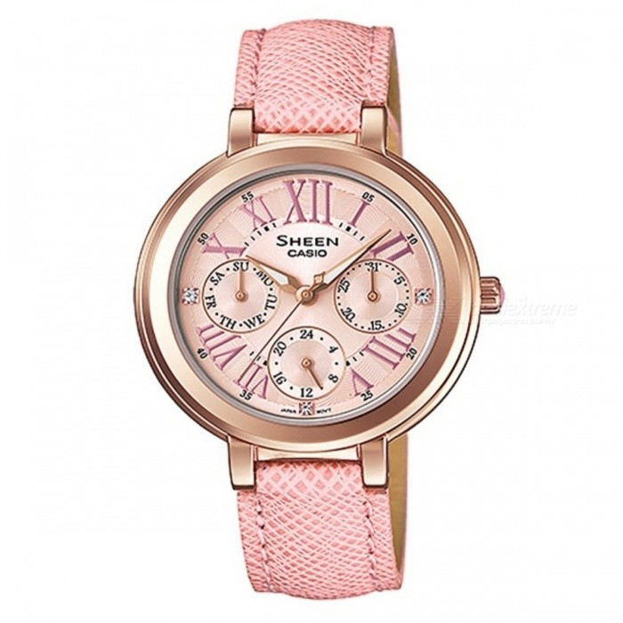 Casio SHE-3034GL-4AUDR Womens Stainless Steel Watch - PinkQuartz Watches<br>Form  ColorPinkModelSHE-3034GL-4AUDRQuantity1 DX.PCM.Model.AttributeModel.UnitShade Of ColorPinkCasing MaterialStainless steelWristband MaterialStainless steelSuitable forAdultsGenderWomenStyleWrist WatchTypeCasual watchesDisplayAnalogMovementQuartzDisplay Format12 hour formatWater ResistantWater Resistant 5 ATM or 50 m. Suitable for swimming, white water rafting, non-snorkeling water related work, and fishing.Dial Diameter3.4 DX.PCM.Model.AttributeModel.UnitDial Thickness0.8 DX.PCM.Model.AttributeModel.UnitWristband Length20 DX.PCM.Model.AttributeModel.UnitBand Width1.5 DX.PCM.Model.AttributeModel.UnitBatterySR920SWPacking List1 x SHE-3034GL-4AUDR<br>
