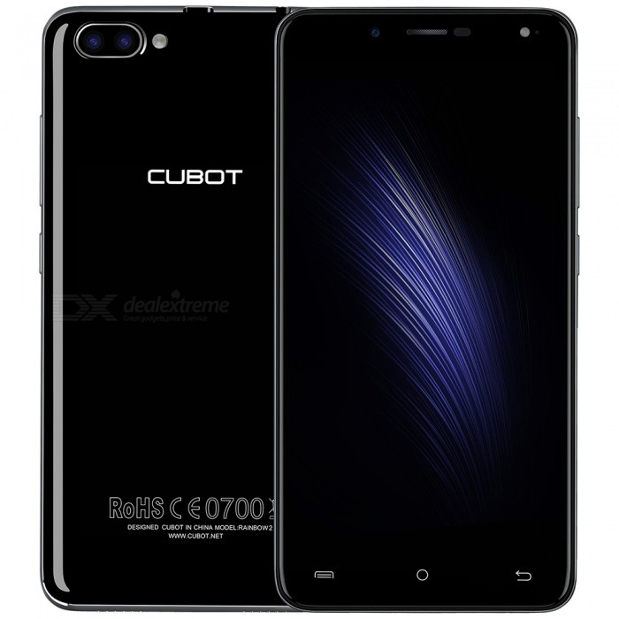 CUBOT RAINBOW 2 Quad-core 3G Phone w/ 1GB RAM, 16GB ROM - BlackAndroid Phones<br>Form  ColorBlackRAM1GBROM16GBBrandCUBOTModelRAINBOW 2Quantity1 pieceMaterialMetal + PlasticShade Of ColorBlackTypeBrand NewPower AdapterEU PlugHousing Case MaterialMetal + PlasticTime of Release2017-3-1Network Type2G,3GBand Details2G:GSM850/900/1800/1900MHz    3G:WCDMA 900/1900/2100MHZData TransferGPRS,HSDPA,EDGEWLAN Wi-Fi 802.11 b,g,nSIM Card TypeMicro SIMSIM Card Quantity2Network StandbyDual Network StandbyGPSYesNFCNoInfrared PortNoBluetooth VersionBluetooth V4.0Operating SystemOthers,Android7.0CPU ProcessorMT6580A, Quad-core, 1.3GHzCPU Core QuantityQuad-CoreGPUMali-400MPLanguageJapanese, Traditional / simplified Chinese, Indonesian, Malay, Catalan, Czech, Danish, German, English, Spanish, Filipino, French, Italian, Hungarian, Dutch, Polish, Portuguese, Latin, Dave, leah, Finnish, Swedish, Vietnamese, Turkish, Greek, Bulgarian, Russian, Serbian, Ukrainian, Hebrew, Arabic, Hindi, Bengali, and Hindi, Thai, KoreanAvailable Memory10GBMemory CardSupports Micro SD / TF card up to 256GB in size (not included)Max. Expansion Supported256GBSize Range5.0~5.4 inchesTouch Screen TypeYesScreen Resolution1280*720Multitouch5Screen Size ( inches)5.0Screen Edge2.5D Curved EdgeCamera PixelOthers,13.0MP + 2MPFront Camera Pixels5 MPFlashYesAuto FocusYesTouch FocusYesOther Camera FunctionsREAR DUAL CAMERAS, 13.0MP+2.0MP<br>5P lens+ 3P lens <br>?/ 2.0 aperture<br>with 1.0A LED flashlightOther Camera FeaturesFRONT CAMERA 5.0MP<br>Intelligent beauty<br>50mA soft flash LEDTalk Time240 minutesStandby Time300 hoursBattery Capacity2350 mAhBattery ModeNon-removablefeaturesWi-Fi,GPS,FM,Bluetooth,OTGSensorG-sensor,Proximity,Accelerometer,Others,Light-SensorWaterproof LevelOthers,N/AI/O InterfaceMicro USB,3.5mm,SIM Slot,OTG,Others,TF card SlotSoftwarePlay Store, E-mail, Calculator, File manager, Clock, Calendar, Gallery, Video Player, Music, Sound Recorder, BrowserFormat SupportedAVI, MP4, 3GP, MOV, MKV, FLV, FLAC, A