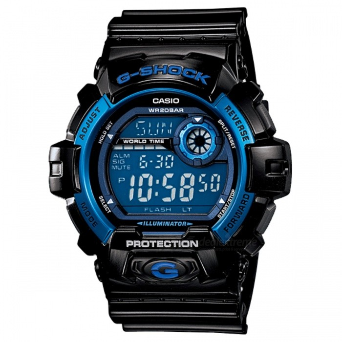 Casio G-8900A-1 Mens Watch - Black + BlueSport Watches<br>Form  ColorBlack + BlueModelG-8900A-1DRQuantity1 DX.PCM.Model.AttributeModel.UnitShade Of ColorBlackCasing MaterialResinWristband MaterialResinSuitable forAdultsGenderMenStyleWrist WatchTypeCasual watchesDisplayDigitalMovementQuartzDisplay Format12/24 hour time formatWater ResistantOthers,200 meter water resistanceDial Diameter5.51 DX.PCM.Model.AttributeModel.UnitDial Thickness1.63 DX.PCM.Model.AttributeModel.UnitWristband Length22 DX.PCM.Model.AttributeModel.UnitBand Width2.5 DX.PCM.Model.AttributeModel.UnitBatteryCR2016Packing List1 x G-8900A-1DR<br>