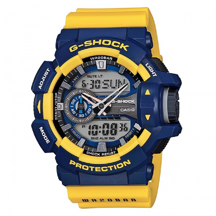 Casio GA-400-9BDR Adults Sport Watch - Blue + YellowSport Watches<br>Form  ColorBlue + YellowModelGA-400-9BDRQuantity1 DX.PCM.Model.AttributeModel.UnitShade Of ColorBlueCasing MaterialResinWristband MaterialPlasticSuitable forAdultsGenderUnisexStyleWrist WatchTypeSports watchesDisplayAnalog + DigitalMovementQuartzDisplay Format12/24 hour time formatWater ResistantOthers,200 meter water resistanceDial Diameter5.19 DX.PCM.Model.AttributeModel.UnitDial Thickness1.83 DX.PCM.Model.AttributeModel.UnitWristband Length22 DX.PCM.Model.AttributeModel.UnitBatteryCoin Cell BatteryPacking List1 x GA-400-9BDR<br>