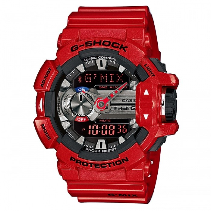 Casio G-Shock GBA-400-4ADR - RedSport Watches<br>Form  ColorRedModelGBA-400-4ADRQuantity1 DX.PCM.Model.AttributeModel.UnitShade Of ColorRedCasing MaterialResinWristband MaterialPlasticSuitable forAdultsGenderUnisexStyleWrist WatchTypeSports watchesDisplayAnalog + DigitalMovementQuartzDisplay Format12/24 hour time formatWater ResistantOthers,200 meter water resistanceDial Diameter5.19 DX.PCM.Model.AttributeModel.UnitDial Thickness1.83 DX.PCM.Model.AttributeModel.UnitWristband Length22 DX.PCM.Model.AttributeModel.UnitBatteryCoin Cell BatteryPacking List1 x GBA-400-4ADR<br>
