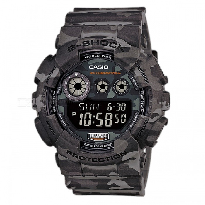Casio G-Shock GD-120CM-8DR Adults Sport Watch - GreySport Watches<br>Form  ColorCamouflage GreyModelGD-120CM-8DRQuantity1 DX.PCM.Model.AttributeModel.UnitShade Of ColorMulti-colorCasing MaterialResinWristband MaterialPlasticSuitable forAdultsGenderUnisexStyleWrist WatchTypeSports watchesDisplayAnalog + DigitalMovementQuartzDisplay Format12/24 hour time formatWater ResistantOthers,200 meter water resistanceDial Diameter5.132 DX.PCM.Model.AttributeModel.UnitDial Thickness1.74 DX.PCM.Model.AttributeModel.UnitWristband Length22 DX.PCM.Model.AttributeModel.UnitBatteryCoin Cell BatteryPacking List1 x GD-120CM-8DR Watch<br>
