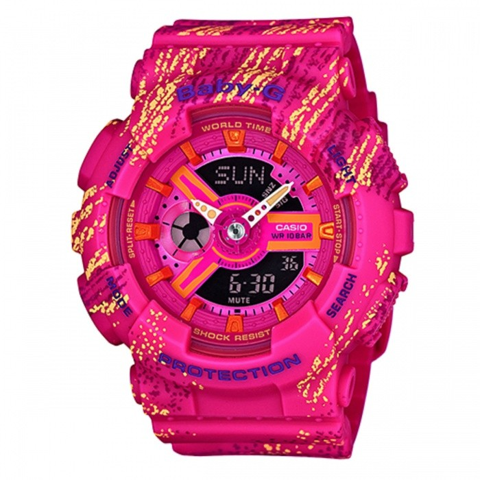 Casio Baby-G BA-110TX-4ADR - PinkSport Watches<br>Form  ColorPinkModelBA-110TX-4ADRQuantity1 DX.PCM.Model.AttributeModel.UnitShade Of ColorPinkCasing MaterialResinWristband MaterialResinSuitable forAdultsGenderUnisexStyleWrist WatchTypeSports watchesDisplayAnalog + DigitalMovementQuartzDisplay Format12/24 hour time formatWater ResistantWater Resistant 10 ATM or 100 m. Suitable for recreational surfing, swimming, snorkeling, sailing and water sports.Dial Diameter4.34 DX.PCM.Model.AttributeModel.UnitDial Thickness1.58 DX.PCM.Model.AttributeModel.UnitWristband Length22 DX.PCM.Model.AttributeModel.UnitBand Width2.5 DX.PCM.Model.AttributeModel.UnitBatteryCoin Cell BatteryPacking List1 x BA-110TX-4ADR<br>