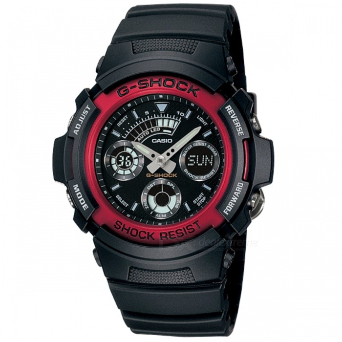 Casio G-Shock AW-591-4ADR - Black + RedSport Watches<br>Form  ColorBlack + RedModelAW-591-4ADRQuantity1 DX.PCM.Model.AttributeModel.UnitShade Of ColorBlackCasing MaterialResinWristband MaterialResinSuitable forAdultsGenderUnisexStyleWrist WatchTypeCasual watchesDisplayAnalog + DigitalMovementQuartzDisplay Format12/24 hour time formatWater ResistantOthers,200 meter water resistanceDial Diameter4.64 DX.PCM.Model.AttributeModel.UnitDial Thickness1.49 DX.PCM.Model.AttributeModel.UnitWristband Length22 DX.PCM.Model.AttributeModel.UnitBand Width2.5 DX.PCM.Model.AttributeModel.UnitBatteryCoin Cell BatteryPacking List1 x AW-591-4ADR<br>