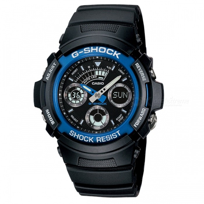 Casio G-Shock AW-591-2ADR - Black+ BlueSport Watches<br>Form  ColorBlack + BlueModelAW-591-2ADRQuantity1 DX.PCM.Model.AttributeModel.UnitShade Of ColorBlackCasing MaterialResinWristband MaterialResinSuitable forAdultsGenderUnisexStyleWrist WatchTypeSports watchesDisplayAnalog + DigitalMovementQuartzDisplay Format12/24 hour time formatWater ResistantOthers,200 meter water resistanceDial Diameter4.64 DX.PCM.Model.AttributeModel.UnitDial Thickness1.49 DX.PCM.Model.AttributeModel.UnitWristband Length22 DX.PCM.Model.AttributeModel.UnitBand Width2.5 DX.PCM.Model.AttributeModel.UnitBatteryCoin Cell BatteryPacking List1 x AW-591-2ADR<br>
