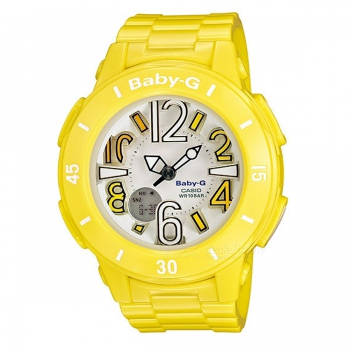 Casio Baby-G BGA-170-9BDR - YellowSport Watches<br>Form  ColorYellowModelBGA-170-9BDRQuantity1 DX.PCM.Model.AttributeModel.UnitShade Of ColorYellowCasing MaterialResinWristband MaterialResinSuitable forAdultsGenderUnisexStyleWrist WatchTypeCasual watchesDisplayAnalog + DigitalMovementQuartzDisplay Format12/24 hour time formatWater ResistantWater Resistant 10 ATM or 100 m. Suitable for recreational surfing, swimming, snorkeling, sailing and water sports.Dial Diameter4.22 DX.PCM.Model.AttributeModel.UnitDial Thickness1.53 DX.PCM.Model.AttributeModel.UnitWristband Length22 DX.PCM.Model.AttributeModel.UnitBand Width2.5 DX.PCM.Model.AttributeModel.UnitBatteryCoin Cell BatteryPacking List1 x BGA-170-9BDR<br>