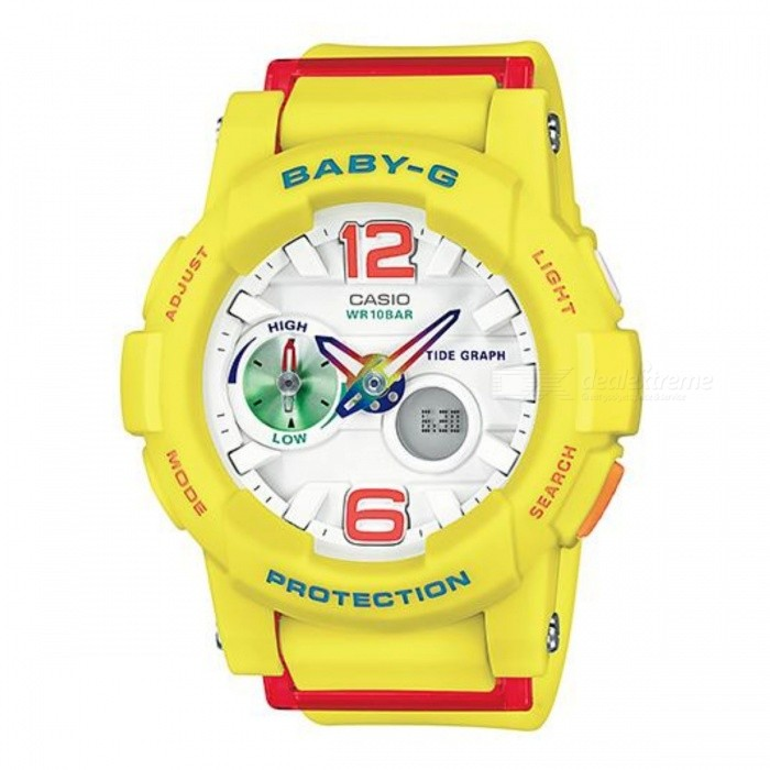 Casio BGA-180-9BDR Baby-G Analog Digital Wrist Watch - YellowSport Watches<br>Form  ColorYellowModelBGA-180-9BDRQuantity1 DX.PCM.Model.AttributeModel.UnitShade Of ColorYellowCasing MaterialResinWristband MaterialResinSuitable forAdultsGenderUnisexStyleWrist WatchTypeSports watchesDisplayAnalogMovementQuartzDisplay Format12 hour formatWater ResistantOthers,not specifyDial Diameter4.93 DX.PCM.Model.AttributeModel.UnitDial Thickness1.54 DX.PCM.Model.AttributeModel.UnitWristband Length22 DX.PCM.Model.AttributeModel.UnitBand Width2 DX.PCM.Model.AttributeModel.UnitBatterySR726W X 2Packing List1 x BGA-180-9BDR<br>