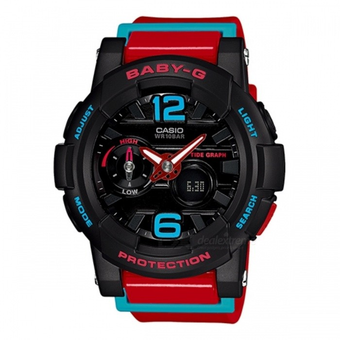 Casio Baby-G G-Lide BGA-180-4BDRSport Watches<br>Form  ColorBlack + Red + Multi-ColoredModelBGA-180-4BDRQuantity1 DX.PCM.Model.AttributeModel.UnitShade Of ColorBlackCasing MaterialResinWristband MaterialResinSuitable forAdultsGenderUnisexStyleWrist WatchTypeSports watchesDisplayAnalog + DigitalMovementQuartzDisplay Format12/24 hour time formatWater ResistantWater Resistant 10 ATM or 100 m. Suitable for recreational surfing, swimming, snorkeling, sailing and water sports.Dial Diameter4.40 DX.PCM.Model.AttributeModel.UnitDial Thickness1.54 DX.PCM.Model.AttributeModel.UnitWristband Length22 DX.PCM.Model.AttributeModel.UnitBand Width2.5 DX.PCM.Model.AttributeModel.UnitBatteryCoin Cell BatteryPacking List1 x BGA-180-4BDR<br>