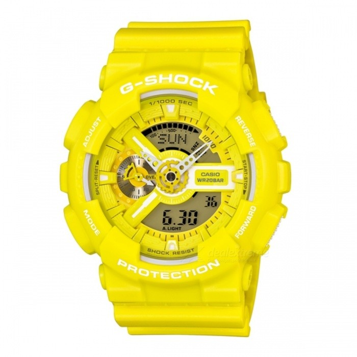Casio G-Shock GA-110BC-9ADRSport Watches<br>Form  ColorYellowModelGA-110BC-9ADRQuantity1 DX.PCM.Model.AttributeModel.UnitShade Of ColorYellowCasing MaterialResinWristband MaterialResinSuitable forAdultsGenderUnisexStyleWrist WatchTypeFashion watchesDisplayAnalog + DigitalMovementQuartzDisplay Format12/24 hour time formatWater ResistantOthers,200 meter water resistanceDial Diameter5.12 DX.PCM.Model.AttributeModel.UnitDial Thickness1.69 DX.PCM.Model.AttributeModel.UnitWristband Length22 DX.PCM.Model.AttributeModel.UnitBand Width2.5 DX.PCM.Model.AttributeModel.UnitBatteryCoin Cell BatteryPacking List1 x GA-110BC-9ADR<br>