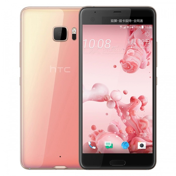 HTC U Ultra U-1u Dual SIM Phone w/ 4GB RAM, 64GB ROM - PinkAndroid Phones<br>Form ColorPinkRAM4GBROM64GBBrandHTCModelU-1uQuantity1 setMaterialAluminum AlloyShade Of ColorPinkTypeBrand NewPower AdapterUK PlugHousing Case MaterialAluminum AlloyTime of Release2017Network Type2G,3G,4GBand DetailsGSM 850 / 900 / 1800 / 1900, UMTS850 (B5), UMTS900 (B8), UMTS1700/2100 (B4), UMTS1900 (B2), UMTS2100 (B1), LTE2100 (B1), LTE850 (B5), LTE1700/2100 (B4), LTE1800 (B3), LTE2600 (B7), LTE900 (B8),LTE700 (B17), LTE800 (B20), TD-LTE2500 (B41), TD-LTE2600 (B38), TD-LTE2300 (B40), LTE700 (B28)Data TransferGPRS,HSDPA,EDGE,LTE,HSUPAWLAN Wi-Fi 802.11 a,b,g,n,acSIM Card TypeNano SIMSIM Card Quantity2Network StandbyDual Network StandbyGPSYes,A-GPSNFCYesBluetooth VersionBluetooth V4.2Operating SystemOthers,Google Android 7.0 (Nougat)CPU ProcessorQualcomm Snapdragon 821 MSM8996AB Pro, 2016, 64 bit, quad-core, 32 Kbyte I-Cache, 32 Kbyte D-Cache, 1536 Kbyte L2, 14 nm.CPU Core QuantityQuad-CoreGPUQualcomm Adreno 530LanguageNot SpecifyAvailable Memory64GBMemory CardmicroSDMax. Expansion Supported256GBSize Range5.5 inches &amp; OverTouch Screen TypeCapacitive ScreenScreen Resolution2560*1440Multitouch10Screen Size ( inches)5.7Camera Pixel12.0MPFront Camera Pixels16 MPVideo Recording Resolution3840x2160 pixel, 30 fps;<br>1920x1080 pixel, 30 fps;FlashYesAuto FocusPD AF, Laser AFTouch FocusYesOther Camera FunctionsOIS, HDR photo, HDR video, Red-eye reduction, Slow motion video, Touch focus, Macro mode, Panorama Photo, Face detectionTalk Time26 hoursStandby Time312 hoursBattery Capacity3000 mAhBattery ModeNon-removablefeaturesWi-Fi,GPS,Bluetooth,NFCSensorProximity,Compass,Accelerometer,Fingerprint authentication sensor,Others,Hall sensor, Light sensorWaterproof LevelIPX1I/O InterfaceUSB Type-c,Others,USB 3.1JAVANoTV TunerNoReference Websites== Will this mobile phone work with a certain mobile carrier of yours? ==Packing List1 x Cell Phone1 x Power Adapter1 x USB Charging Cable1 x User Manual<br>