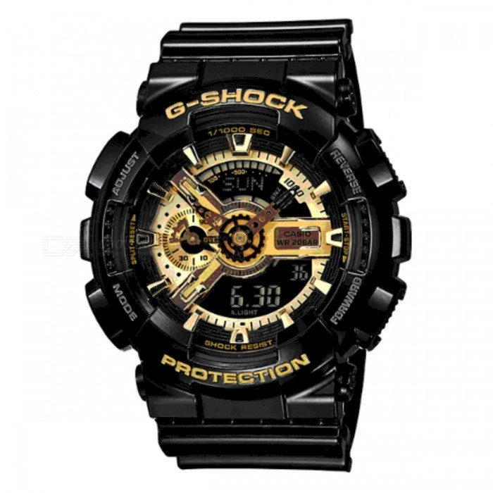 Casio G-Shock GA-110GB-1AERMechanical Watches<br>Form  ColorBlack + GoldModelGA-110GB-1AERQuantity1 DX.PCM.Model.AttributeModel.UnitShade Of ColorBlackCasing MaterialResinWristband MaterialResinSuitable forAdultsGenderUnisexStyleWrist WatchTypeSports watchesDisplayAnalog + DigitalMovementQuartzDisplay Format12/24 hour time formatWater ResistantOthers,200 meter water resistanceDial Diameter5.12 DX.PCM.Model.AttributeModel.UnitDial Thickness1.69 DX.PCM.Model.AttributeModel.UnitWristband Length22 DX.PCM.Model.AttributeModel.UnitBand Width2 DX.PCM.Model.AttributeModel.UnitBatteryCoin cell battery: CR1220Packing List1 x GA-110GB-1AER<br>