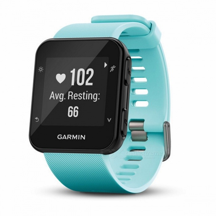Garmin Forerunner 35 - Frost BlueSmart Watches<br>Form  ColorBlueModelForerunner® 35Quantity1 DX.PCM.Model.AttributeModel.UnitMaterialPlastic + metalShade Of ColorBlueCPU ProcessorN/AScreen Size0.93 DX.PCM.Model.AttributeModel.UnitScreen Resolution128 x 128 pixelsTouch Screen TypeYesBluetooth VersionNo,Bluetooth V4.0Compatible OSN/ALanguageEnglishWristband Length22 DX.PCM.Model.AttributeModel.UnitWater-proofYesBattery ModeNon-removableBattery TypeOthers,Rechargeable lithium-ionStandby Time9 DX.PCM.Model.AttributeModel.UnitPacking List1 x Forerunner 351 x Charging cable1 x Manual<br>