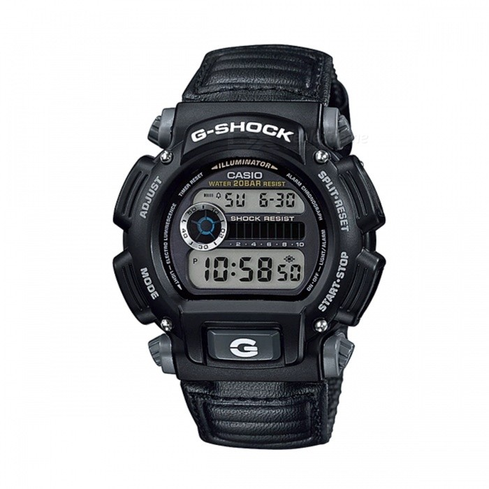 Casio G-Shock DW-9052V-1Sport Watches<br>Form  ColorBlackModelDW-9052V-1Quantity1 DX.PCM.Model.AttributeModel.UnitShade Of ColorBlackCasing MaterialResinWristband MaterialLeatherSuitable forAdultsGenderUnisexStyleWrist WatchTypeCasual watchesDisplayDigitalMovementQuartzDisplay Format12/24 hour time formatWater ResistantOthers,200 meter water resistanceDial Diameter4.3 DX.PCM.Model.AttributeModel.UnitDial Thickness1.47 DX.PCM.Model.AttributeModel.UnitWristband Length22 DX.PCM.Model.AttributeModel.UnitBand Width2.5 DX.PCM.Model.AttributeModel.UnitBatteryCoin Cell BatteryPacking List1 x DW-9052V-1<br>