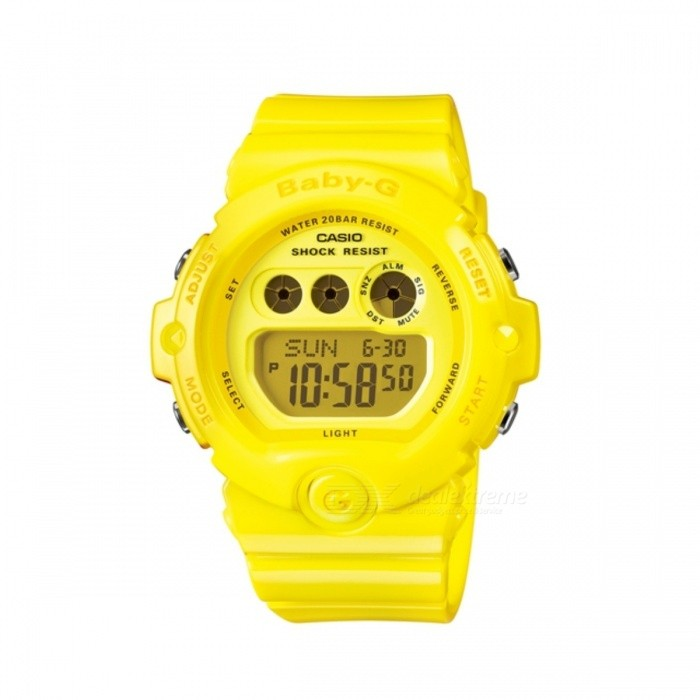 Casio Baby-G BG-6902-9Sport Watches<br>Form  ColorFluorescent YellowModelBG-6902-9DRQuantity1 DX.PCM.Model.AttributeModel.UnitShade Of ColorYellowCasing MaterialResinWristband MaterialResinSuitable forAdultsGenderUnisexStyleWrist WatchTypeCasual watchesDisplayDigitalMovementQuartzDisplay Format12/24 hour time formatWater ResistantOthers,200 meter water resistanceDial Diameter4.5 DX.PCM.Model.AttributeModel.UnitDial Thickness1.35 DX.PCM.Model.AttributeModel.UnitWristband Length22 DX.PCM.Model.AttributeModel.UnitBand Width2 DX.PCM.Model.AttributeModel.UnitBatteryCoin Cell BatteryPacking List1 x BG-6902-9DR<br>