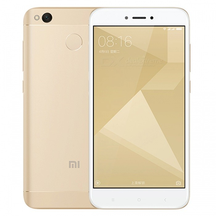 Xiaomi Redmi 4X 5.0 Dual SIM Phone w/ 2GB RAM + 16GB ROM - GoldenAndroid Phones<br>Form Color GoldenRAM2GBROM16GBBrandXiaomiModelRedmi 4XQuantity1 setMaterialMetal + GlassShade Of ColorGoldTypeBrand NewPower AdapterUS PlugsTime of Release2017Network Type2G,3G,4GBand DetailsGSM850/900/1800/1900;  UMTS2100 (B1), UMTS1900 (B2), UMTS850 (B5), UMTS900 (B8); CDMA800 (BC0), TD-SCDMA2000,  TD-SCDMA1900; LTE2100 (B1),  LTE1800 (B3), LTE850 (B5), LTE2600 (B7), LTE900 (B8), TD-LTE2600 (B38), TD-LTE1900 (B39), TD-LTE2300 (B40), TD-LTE2500 (B41)Data TransferGPRS,HSDPA,EDGE,LTE,HSUPAWLAN Wi-Fi 802.11 b,g,nSIM Card TypeMicro SIM,Nano SIMSIM Card Quantity2Network StandbyDual Network StandbyGPSYes,A-GPSBluetooth VersionBluetooth V4.2Operating SystemAndroid 6.0CPU ProcessorQualcomm Snapdragon 435 MSM8940, 2016, 64 bit, octa-core, 28 nmCPU Core QuantityOcta-CoreGPUQualcomm Adreno 505LanguageNot SpecifyAvailable Memory16GBMemory CardmicroSDSize Range5.0~5.4 inchesTouch Screen TypeCapacitive ScreenScreen Resolution1280*720MultitouchOthers,YesScreen Size ( inches)5.0Screen Edge2.5D Curved EdgeCamera Pixel13.0MPFront Camera Pixels5.0 MPVideo Recording Resolution1920x1080 pixel, 30 fpsFlashYesAuto FocusPD AFTouch FocusYesOther Camera FunctionsHDR photo, HDR video, Red-eye reduction, Macro mode, Panorama Photo, Face detection, Smile detectionTalk Time36 hoursStandby TimeN/A hourBattery Capacity4100 mAhBattery ModeNon-removablefeaturesWi-Fi,GPS,FM,Bluetooth,OTGSensorProximity,Compass,Accelerometer,Gesture,Fingerprint authentication sensor,Others,Hall sensor, Light sensor, GyroscopeWaterproof LevelIPX0 (Not Protected)I/O InterfaceOTG,Others,USB Micro-ABJAVANoTV TunerNoRadio TunerFMReference Websites== Will this mobile phone work with a certain mobile carrier of yours? ==Packing List1 x Cell Phone1 x Power Adapter1 x USB Charging Cable1 x User Manual<br>