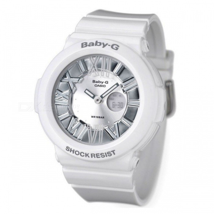 Casio Baby-G Nenon Illuminator BGA-160-7B1Sport Watches<br>Form  ColorWhiteModelBGA-160-7B1Quantity1 DX.PCM.Model.AttributeModel.UnitShade Of ColorWhiteCasing MaterialResinWristband MaterialResinSuitable forAdultsGenderUnisexStyleWrist WatchDisplayAnalogMovementDigitalDisplay Format12/24 hour time formatWater ResistantWater Resistant 10 ATM or 100 m. Suitable for recreational surfing, swimming, snorkeling, sailing and water sports.Dial Diameter4.3 DX.PCM.Model.AttributeModel.UnitDial Thickness1.46 DX.PCM.Model.AttributeModel.UnitWristband Length21 DX.PCM.Model.AttributeModel.UnitBand Width1.4 DX.PCM.Model.AttributeModel.UnitBattery2 years on SR726W x 2Packing List1 x BGA-160-7B1DR<br>