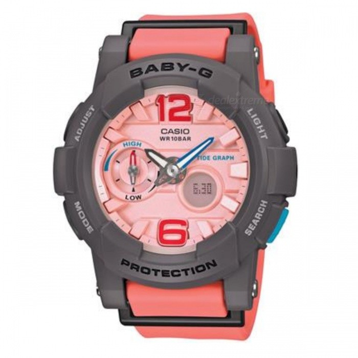 Casio Baby-G G-Lide BGA-180-4B2Sport Watches<br>Form  ColorPinkModelBGA-180-4B2Quantity1 DX.PCM.Model.AttributeModel.UnitShade Of ColorPinkCasing MaterialResinWristband MaterialResinSuitable forAdultsStyleWrist WatchWater ResistantWater Resistant 10 ATM or 100 m. Suitable for recreational surfing, swimming, snorkeling, sailing and water sports.Dial Diameter4.4 DX.PCM.Model.AttributeModel.UnitDial Thickness1.54 DX.PCM.Model.AttributeModel.UnitWristband Length21 DX.PCM.Model.AttributeModel.UnitBand Width2. DX.PCM.Model.AttributeModel.UnitBattery2 years on SR726W x 2Packing List1 x BGA-180-4B2DR<br>