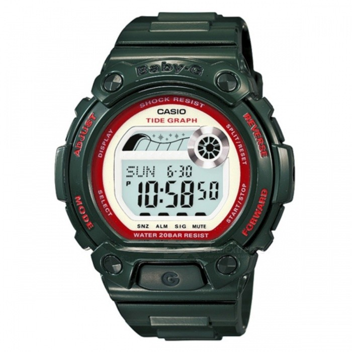 Casio Baby-G BLX-101-3Sport Watches<br>Form  ColorDark GreenModelBLX-101-3Quantity1 DX.PCM.Model.AttributeModel.UnitCasing MaterialResinWristband MaterialResinDial Diameter4.23 DX.PCM.Model.AttributeModel.UnitDial Thickness1.36 DX.PCM.Model.AttributeModel.UnitWristband Length22 DX.PCM.Model.AttributeModel.UnitBand Width2.5 DX.PCM.Model.AttributeModel.UnitBatteryCoin Cell BatteryPacking List1 x BLX-101-3<br>