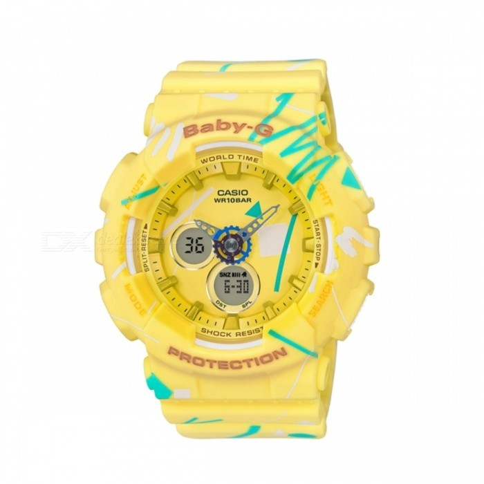 Casio Baby-G BA-120SC-9ASport Watches<br>Form  ColorYellowModelBA-120SC-9AQuantity1 DX.PCM.Model.AttributeModel.UnitCasing MaterialResinWristband MaterialResinDial Diameter4.34 DX.PCM.Model.AttributeModel.UnitDial Thickness1.58 DX.PCM.Model.AttributeModel.UnitWristband Length22 DX.PCM.Model.AttributeModel.UnitBand Width2.5 DX.PCM.Model.AttributeModel.UnitBatteryCoin Cell BatteryPacking List1 x BA-120SC-9A<br>