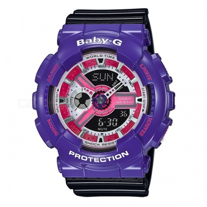 Casio Baby-G BA-110NC-6ASport Watches<br>Form  ColorPurpleModelBA-110NC-6AQuantity1 DX.PCM.Model.AttributeModel.UnitCasing MaterialResinWristband MaterialResinDial Diameter5.12 DX.PCM.Model.AttributeModel.UnitDial Thickness1.69 DX.PCM.Model.AttributeModel.UnitWristband Length22 DX.PCM.Model.AttributeModel.UnitBand Width2.5 DX.PCM.Model.AttributeModel.UnitBatteryCoin Cell BatteryPacking List1 x BA-110NC-6A<br>