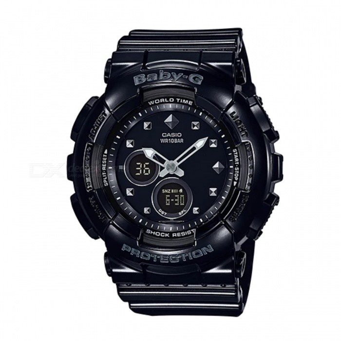 Casio Baby-G Standard Analog-dgital BA-125-1ASport Watches<br>Form  ColorBlackModelBA-125-1AQuantity1 DX.PCM.Model.AttributeModel.UnitShade Of ColorBlackCasing MaterialResinWristband MaterialResinSuitable forAdultsGenderUnisexStyleWrist WatchTypeCasual watchesDisplayAnalog + DigitalMovementQuartzDisplay Format12/24 hour time formatWater ResistantWater Resistant 10 ATM or 100 m. Suitable for recreational surfing, swimming, snorkeling, sailing and water sports.Dial Diameter4.34 DX.PCM.Model.AttributeModel.UnitDial Thickness1.58 DX.PCM.Model.AttributeModel.UnitWristband Length22 DX.PCM.Model.AttributeModel.UnitBand Width2.5 DX.PCM.Model.AttributeModel.UnitBatteryCoin Cell BatteryPacking List1 x BA-125-1A<br>
