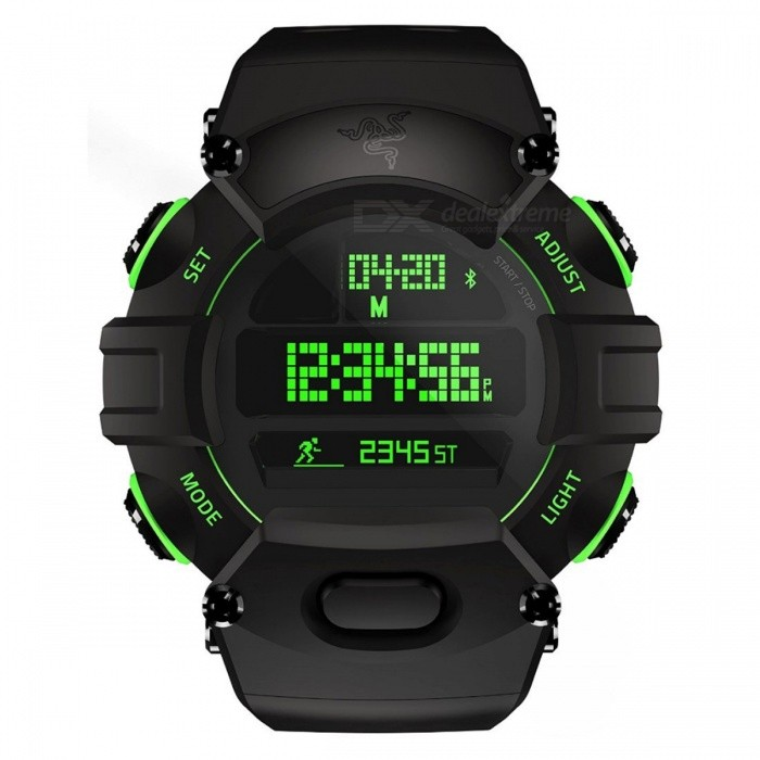 Razer Nabu Watch - BlackSport Watches<br>Form  ColorBlackModelNabu WatchQuantity1 DX.PCM.Model.AttributeModel.UnitShade Of ColorBlackCasing MaterialPolycarbonateWristband MaterialPolycarbonateSuitable forAdultsGenderMenStyleWrist WatchDisplayDigitalMovementDigitalDisplay Format12/24 hour time formatWater ResistantWater Resistant 5 ATM or 50 m. Suitable for swimming, white water rafting, non-snorkeling water related work, and fishing.Dial Diameter5.49 DX.PCM.Model.AttributeModel.UnitDial Thickness1.68 DX.PCM.Model.AttributeModel.UnitWristband Length22 DX.PCM.Model.AttributeModel.UnitBand Width2.5 DX.PCM.Model.AttributeModel.UnitBatteryreplaceable coin cell battery (CR2032)Packing List1 x Razer Nabu Watch1 x user menu1 x USB charging cable<br>