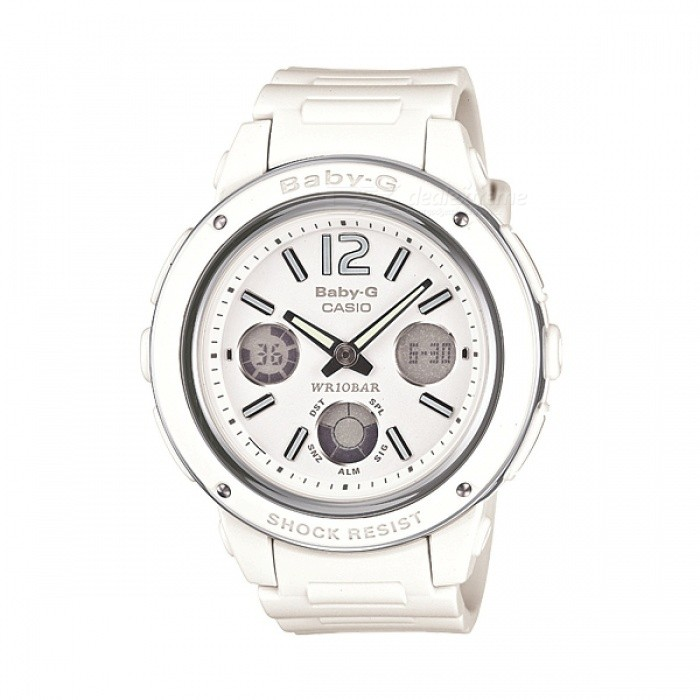 Casio Baby-G BGA-150-7BMechanical Watches<br>Form  ColorWhiteModelBGA-150-7BQuantity1 DX.PCM.Model.AttributeModel.UnitShade Of ColorWhiteCasing MaterialResin / Stainless steelWristband MaterialResin BandGenderWomenStyleWrist WatchTypeSports watchesMovementQuartzDisplay Format12/24 hour time formatWater ResistantWater Resistant 10 ATM or 100 m. Suitable for recreational surfing, swimming, snorkeling, sailing and water sports.Dial Diameter4.28 DX.PCM.Model.AttributeModel.UnitDial Thickness1.28 DX.PCM.Model.AttributeModel.UnitWristband Length20 DX.PCM.Model.AttributeModel.UnitBand Width2 DX.PCM.Model.AttributeModel.UnitBattery3 years on CR1220Packing List1 x BGA-150-7BDR<br>