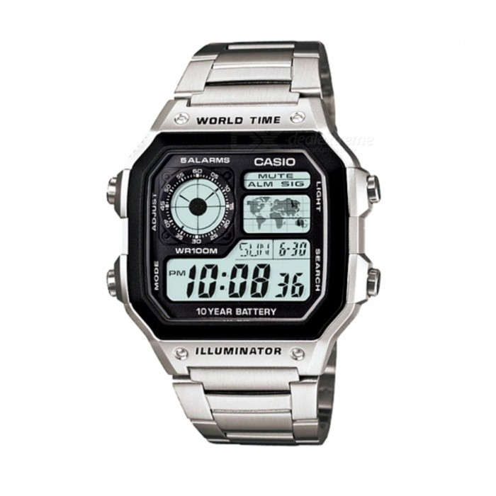 Casio AE-1200WHD-1AVSport Watches<br>Form  ColorSilverModelAE-1200WHD-1AVQuantity1 DX.PCM.Model.AttributeModel.UnitCasing MaterialResinWristband MaterialResinSuitable forAdultsGenderMenStyleWrist WatchTypeSports watchesWater ResistantWater Resistant 10 ATM or 100 m. Suitable for recreational surfing, swimming, snorkeling, sailing and water sports.Dial Diameter4.21 DX.PCM.Model.AttributeModel.UnitDial Thickness1.25 DX.PCM.Model.AttributeModel.UnitWristband Length22 DX.PCM.Model.AttributeModel.UnitBand Width2 DX.PCM.Model.AttributeModel.UnitBattery10 years on CR2025Packing List1 x AE-1200WHD-1AVDF<br>