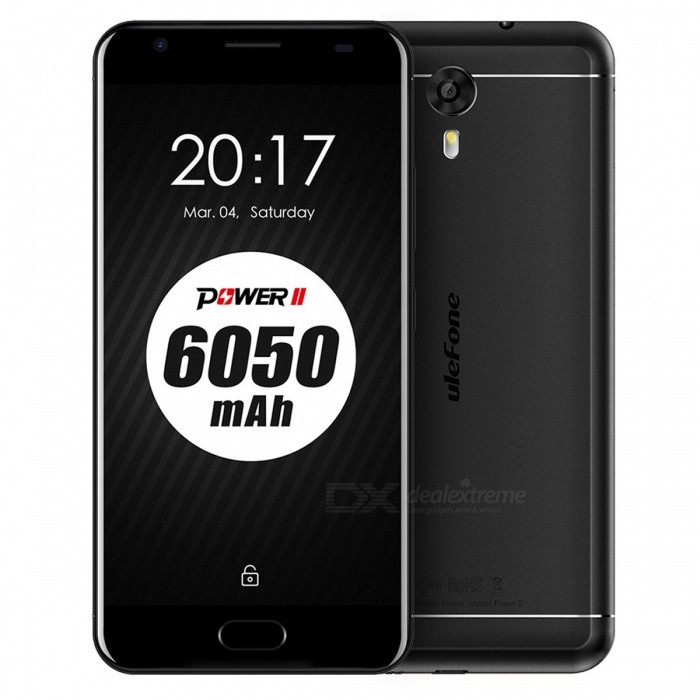 Ulefone Power 2 Android 7.0 Smartphone w/ 4GB RAM 64GB ROM - BlackAndroid Phones<br>Form  ColorBlackRAM4GBROM64GBBrandOthers,UlefoneModelPower 2Quantity1 setMaterialPVCShade Of ColorBlackTypeBrand NewPower AdapterEU PlugHousing Case MaterialPVCNetwork Type2G,3G,4GBand Details4G:FDD-LTE:2100/1800/2600/900/800(B1/3/7/8/20) 3G:WCDMA:2100/900(B1/8) 2G:GSM: 850/900/1800/1900(B5/8/3/2Data TransferGPRS,HSDPA,EDGE,LTEWLAN Dual band Wi-Fi (2.4GHz / 5GHz),Others,N/ASIM Card Quantity2Network StandbyDual Network StandbyBluetooth VersionBluetooth V4.0Operating SystemOthers,Android 7.0CPU ProcessorMT6750T  Octa-Core 1.5GHzCPU Core QuantityOcta-CoreLanguageIndonesian, Malay, Catalan, Czech, Danish, German, Estonian, English, Spanish, Filipino, French, Croatian, Italian, Latvian, Lithuanian, Hungarian, Dutch, Norwegian, Polish, Portuguese, Romanian, Slovak, Finnish, Swedish, Vietnamese, Greek, Turkish, Bulgarian, Russian, Serb, Ukrainian, Armenian, Hebrew, Urdu, Arabic, Persian, Hindi, Bengali, Thai, Korean, Burmese, Japanese, Simplified Chinese, Traditional ChineseAvailable Memory55GBMemory CardMicro SD CardMax. Expansion Supported256GBSize Range5.5 inches &amp; OverTouch Screen TypeYesScreen Resolution1920*1080Screen Size ( inches)Others,5.5Screen Edge2.5D Curved EdgeCamera Pixel13.0MPFront Camera Pixels8 MPFlashYesTalk Time19 hoursStandby Time1160 hoursBattery Capacity6050 mAhBattery ModeNon-removableQuick ChargeYesfeaturesWi-Fi,BluetoothSensorG-sensor,Compass,Gesture,Fingerprint authentication sensorWaterproof LevelOthers,N/AI/O Interface3.5mmFormat SupportedWAV, AMR, MP3, MID, 3GP, RM, MPEG-4, AVIReference Websites== Will this mobile phone work with a certain mobile carrier of yours? ==Packing List1 x Cell phone1 x Data cable1 x Power adapter1 x User manual1 x Warranty manual<br>