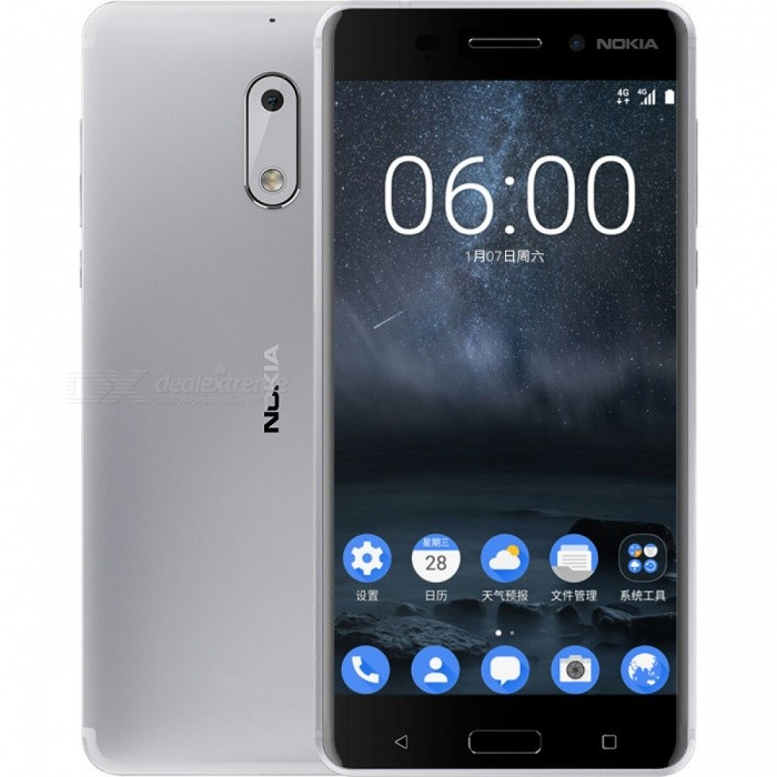 Nokia 6 5.5 IPS Dual SIM Phone w/ 4+64GB - Silvery White (CN Version)Android Phones<br>Form  ColorSilver WhiteRAM4GBROM64GBBrandNokiaModel6Quantity1 setMaterialAluminum alloyShade Of ColorBlackTypeBrand NewPower AdapterOthers,2-Flat-Pin PlugNetwork Type2G,3G,4GBand DetailsGSM 850 / 900 / 1800 / 1900, UMTS2100 (B1), UMTS1900 (B2), UMTS850 (B5), UMTS900 (B8), CDMA800 (BC0), TD-SCDMA2000, TD-SCDMA1900,  LTE2100 (B1), LTE1800 (B3), LTE850 (B5), LTE2600 (B38), TD-LTE1900 (B39), TD-LTE2300 (B40), TD-LTE2500 (B41)Data TransferGPRS,HSDPA,EDGE,LTE,HSUPAWLAN Others,Wi-Fi 802.11 b,g,n,ac, Wi-Fi directSIM Card TypeNano SIMSIM Card Quantity2Network StandbyDual Network StandbyGPSYes,A-GPS,GLONASSNFCYesBluetooth VersionOthers,N/AOperating SystemOthers,Android 7.0CPU ProcessorQualcomm Snapdragon 430 MSM8937, 2016, 64 bit, octa-core, 28 nm, 1400MHzCPU Core QuantityOcta-CoreGPUQualcomm Adreno 505LanguageNot specifyAvailable MemoryN/AMemory CardTFMax. Expansion Supported128GBSize Range5.5 inches &amp; OverTouch Screen TypeIPSScreen Resolution1920*1080MultitouchOthers,YesScreen Size ( inches)Others,5.5Screen Edge2.5D Curved EdgeCamera PixelOthers,16MPFront Camera Pixels8 MPVideo Recording Resolution1920 x 1080 pixelFlashYesAuto FocusCD AF, PD AFTouch FocusYesOther Camera FunctionsHDR photo, slow motion video, panorama Photo, face retouch, geo-tagging, face detectionTalk Time18 hoursStandby Time768 hoursBattery Capacity3000 mAhBattery ModeNon-removablefeaturesWi-Fi,GPS,Bluetooth,NFC,OTGSensorG-sensor,Proximity,Compass,Accelerometer,Fingerprint authentication sensor,Others,Hall sensor, light sensorWaterproof LevelIPX1I/O Interface3.5mm,Micro USB v2.0,OTGJAVANoReference Websites== Will this mobile phone work with a certain mobile carrier of yours? ==Packing List1 x Phone1 x Power adapter (2-Flat-Pin Plug)1 x Data cable1 x User manual<br>