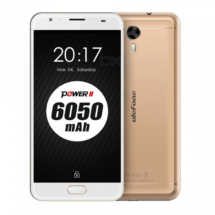 Ulefone Power 2 Android 7.0 Smartphone w/ 4GB RAM 64GB ROM - GoldenAndroid Phones<br>Form  ColorGoldenRAM4GBROM64GBBrandOthers,UlefoneModelPower 2Quantity1 setMaterialPVCShade Of ColorGoldTypeBrand NewPower AdapterEU PlugHousing Case MaterialPVCNetwork Type2G,3G,4GBand Details4G:FDD-LTE:2100/1800/2600/900/800(B1/3/7/8/20) 3G:WCDMA:2100/900(B1/8) 2G:GSM: 850/900/1800/1900(B5/8/3/2Data TransferGPRS,HSDPA,EDGE,LTEWLAN Dual band Wi-Fi (2.4GHz / 5GHz)SIM Card Quantity2Network StandbyDual Network StandbyGPSYes,GLONASSBluetooth VersionBluetooth V4.0Operating SystemOthers,Android 7.0CPU ProcessorMT6750T  Octa-Core 1.5GHzCPU Core QuantityOcta-CoreLanguageIndonesian, Malay, Catalan, Czech, Danish, German, Estonian, English, Spanish, Filipino, French, Croatian, Italian, Latvian, Lithuanian, Hungarian, Dutch, Norwegian, Polish, Portuguese, Romanian, Slovak, Finnish, Swedish, Vietnamese, Greek, Turkish, Bulgarian, Russian, Serb, Ukrainian, Armenian, Hebrew, Urdu, Arabic, Persian, Hindi, Bengali, Thai, Korean, Burmese, Japanese, Simplified Chinese, Traditional ChineseAvailable Memory55GBMemory CardMicro SD CardMax. Expansion Supported256GBSize Range5.5 inches &amp; OverTouch Screen TypeIPSScreen Resolution1920*1080Screen Size ( inches)Others,5.5Screen Edge2.5D Curved EdgeCamera Pixel13.0MPFront Camera Pixels8 MPFlashYesTalk Time19 hoursStandby Time1160 hoursBattery Capacity6050 mAhBattery ModeNon-removableQuick ChargeYesfeaturesWi-Fi,BluetoothSensorG-sensor,Compass,Gesture,Fingerprint authentication sensorWaterproof LevelOthers,N/AI/O Interface3.5mmFormat SupportedWAV, AMR, MP3, MID, 3GP, RM, MPEG-4, AVIReference Websites== Will this mobile phone work with a certain mobile carrier of yours? ==Packing List1 x Cell phone1 x Data cable1 x Power adapter1 x User manual1 x Warranty manual<br>
