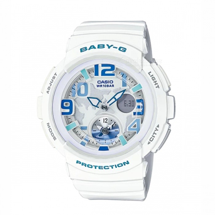 Casio Baby-G STANDARD ANALOG-DIGITAL BGA-190-7BSport Watches<br>Form  ColorWhite + Blue + Multi-ColoredModelBGA-190-7BQuantity1 DX.PCM.Model.AttributeModel.UnitShade Of ColorWhiteCasing MaterialResinWristband MaterialResinSuitable forAdultsGenderUnisexStyleWrist WatchTypeCasual watchesDisplayAnalog + DigitalMovementQuartzDisplay Format12/24 hour time formatWater ResistantWater Resistant 10 ATM or 100 m. Suitable for recreational surfing, swimming, snorkeling, sailing and water sports.Dial Diameter4.43 DX.PCM.Model.AttributeModel.UnitDial Thickness1.55 DX.PCM.Model.AttributeModel.UnitWristband Length22 DX.PCM.Model.AttributeModel.UnitBand Width2.5 DX.PCM.Model.AttributeModel.UnitBatteryCoin Cell BatteryPacking List1 x BGA-190-7B<br>