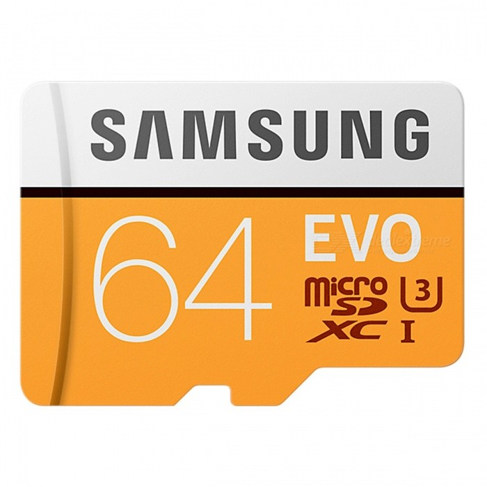 Samsung MB-MP64G EVO 64GB MicroSDXC Class 10 UHS-1 U3MicroSD TF Cards<br>Capacity64GBBrandSamsungModelMB-MP64GQuantity1 setMaterialPlastic + MetalForm  ColorOrangeSpeed ClassClass 10Max Read Speed100 MB/sMax Write Speednot specificOverwrite Protection SwitchNoPacking List1 x MB-MP64G MicroSD<br>