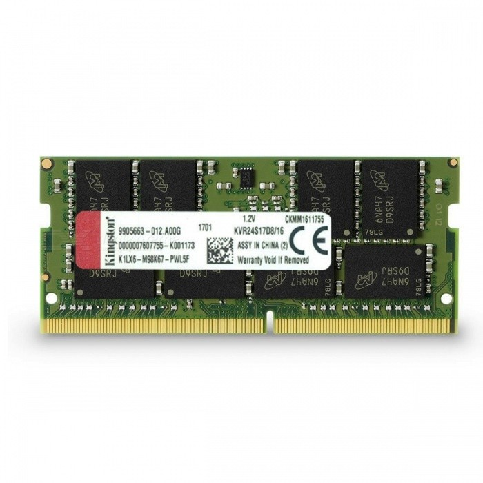 Kingston ValueRAM KVR24S17D8/16 16GB Notebook Ram Memory ModuleForm  ColorGreen + Black + Multi-ColoredModelKVR24S17D8/16Quantity1 DX.PCM.Model.AttributeModel.UnitMaterialMetalPacking List1 x KVR24S17D8/16 Module<br>