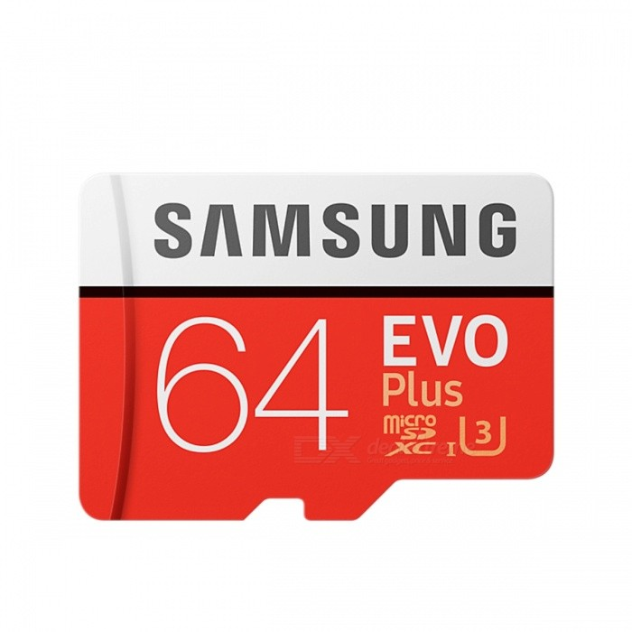 Samsung MB-MC64GA EVO Plus 64GB MicroSDXC U3 with SD AdapterMicroSD TF Cards<br>Capacity64GBBrandSamsungModelMB-MC64GAQuantity1 DX.PCM.Model.AttributeModel.UnitMaterialPlastic + MetalSpeed ClassClass 10Max Read Speed100Mb/sMax Write Speed60Mb/sOverwrite Protection SwitchYesPacking List1 x MB-MC64GA Card1 x SD Adapter<br>