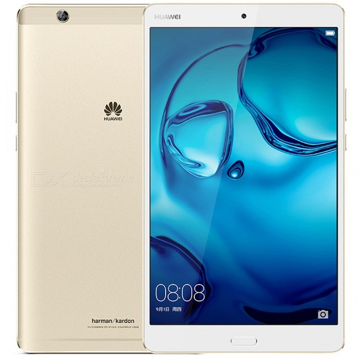 Huawei M3 W09 8.4 inches Wi-Fi Tablet 4GB RAM 32GB ROM - GoldenAndroid Tablets<br>Form  ColorGolden 32GB WifiBrandHuaWeiModelTD-LTE W09Quantity1 setMaterialAluminium-magnesium alloyShade Of ColorGoldProcessor BrandOthers,HisiliconProcessor ModelOthers,KIRIN 950Processor Speed2300 MHzNumber of CoresOcta-CoreGPUARM Mali-T880MP4RAM/Memory TypeOthers,LPDDR4 SDRAMBuilt-in Memory / RAM4GBCapacity / ROM64GBScreen SizeOthers,8.4 inchesScreen Size7.8 inches~8.9 inchesScreen TypeIPSTouch TypeCapacitive screenResolutionOthers,1600 x 25603G TypeTD-SCDMA3G Frequency Range1900,Others,20003G FunctionYes4G standardTD-LTEOperating SystemAndroid 6.0LTE Band Support1800 MHz,2100 MHz,2600 MHz,800 MHz,850 MHz,900 MHz,TD 1900,TD 2300,TD 2600Supported NetworkWifi,Bluetooth,GPS,4GGravity SensorYesWi-Fi StandardOthers,Wi-Fi 802.11 a/b/g/n/ac, hotspotBluetooth VersionOthers,Bluetooth V4.1MicrophoneYesInterface1 x 3.5mm,Others,Micro USB 2.0USB ChargeYesGoogle Play(Android Market)NoCamera2 x CamerasFront Camera Pixels8.0 MPBack Camera Pixels8.0 MPPhotoflash LampNoStorage InterfaceTFButtonHome,Reset,Sound,PowerImagesBMP,GIF,JPEG,PNGE-bookTXTVideo FormatsAVI,MKV,MP4,Others,3GP, 3G2, ASF, WEBMExternal Memory Max. SupportOthers,256 GBPower AdapterUK PlugTip DiameterOthers,NoSupported LanguagesOthers,Not specifiedBattery Capacity5100 mAhBattery TypeLi-polymer batteryWorking TimeN/A hourStandby Time350 hoursCharging TimeN/A hourPacking List1 x Tablet1 x Data cable1 x Power adapter1 x User manual<br>