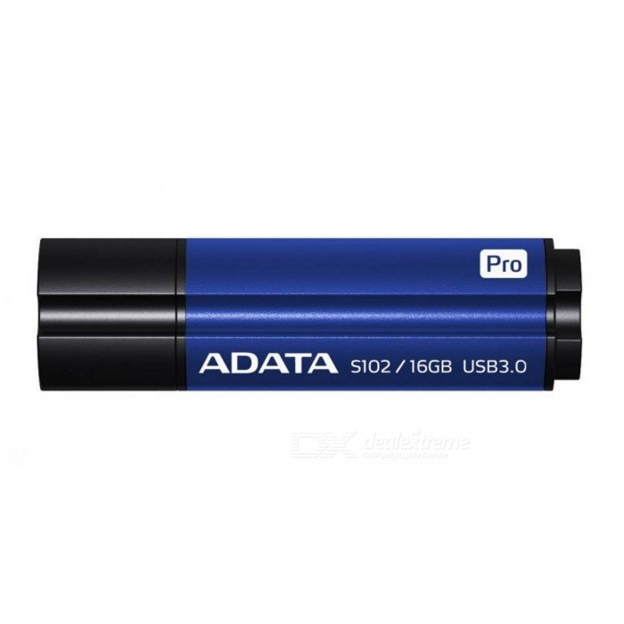 ADATA S102 Pro 16GB USB 3.0 Flash Drive - Blue (AS102P-16G-RBL)16GB USB Flash Drives<br>Form  ColorBlue + BlackCapacity16GBModelAS102P-16G-RBLMaterialAluminum alloyQuantity1 DX.PCM.Model.AttributeModel.UnitShade Of ColorBlueMax Read SpeedUSB3.0Max Write SpeedUSB3.0USBUSB 3.0With IndicatorNoPacking List1 x USB 3.0 flash drive<br>