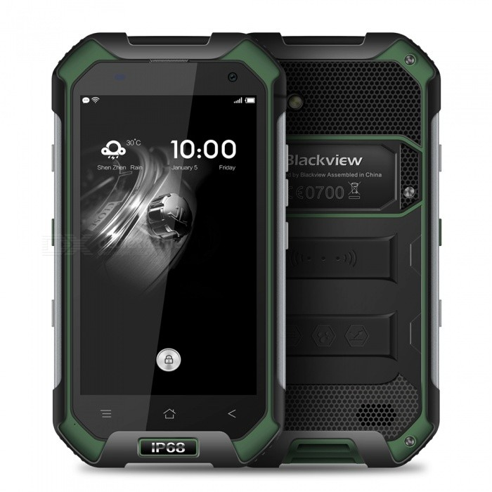 Blackview BV6000 Android 6.0 Phone with 3GB RAM, 32GB ROM - GreenAndroid Phones<br>Form  ColorGreenRAM3GBROM32GBBrandBlackviewModelBV6000Quantity1 pieceMaterialPlasticShade Of ColorGreenTypeBrand NewPower AdapterEU PlugHousing Case MaterialPlasticNetwork Type2G,3G,4GBand Details2G:GSM 850/900/1800/1900MHz;3G:WCDMA 900/2100MHz;4G:FDD-LTE FDD 2100/1800/2600/900/800MHz(B1/B3/B7/B8/20)Data TransferGPRS,HSDPA,EDGEWLAN Wi-Fi 802.11 a,b,g,nSIM Card TypeMicro SIMSIM Card Quantity2Network StandbyDual Network StandbyGPSYesNFCYesInfrared PortNoBluetooth VersionBluetooth V4.1Operating SystemAndroid 6.0CPU ProcessorMT6755 2.0GHzCPU Core QuantityOcta-CoreGPUARM Mali-T860-MP2 700MHzLanguageGlobal multinational languageAvailable Memory26GBMemory CardYesMax. Expansion Supported32GBSize Range4.5~4.9 inchesTouch Screen TypeYesScreen Resolution1280*720Multitouch5Screen Size ( inches)4.7Camera Pixel13.0MPFront Camera Pixels5.0 MPFlashYesAuto FocusYesTouch FocusYesTalk Time12 hoursStandby Time72 hoursBattery Capacity4200 mAhBattery ModeNon-removableQuick Charge9V 2AfeaturesWi-Fi,GPS,FM,Bluetooth,NFC,OTGSensorG-sensor,Proximity,CompassWaterproof LevelOthers,IPX8Dust-proof LevelYesShock-proofYesI/O InterfaceMicro USB,SIM Slot,Others,TF Card SlotSoftwareFacebook, Twitter, Google browser, Google map, Electric Torch, FM Radio, Email, Music, Clock, G-mail, Play store, Camera, Gallery, Voice Search, Messaging, QQ, WeChatFormat SupportedWAV, AMR, MP3, MID, 3GP, RM, MPEG-4, AVIJAVANoTV TunerNoRadio TunerFMWireless ChargingNoOther Features4.7 HD IPS + Dual Network Standby + Android6.0 + 3GB RAM + 32GB ROM + Wi-Fi + GPS + FM + OTG +  5.0MP Front camera+ 13.0MP Rear camera + 4200mAh battery + Qcta-Core + Bluetooth V4.1Reference Websites== Will this mobile phone work with a certain mobile carrier of yours? ==Packing List1 x Mainboard1 x Earphone (120cm cable)1 x Data Cable (100cm)1 x OTG cable (13cm)1 x EU plug 100~240V power adapter1 x 4200mAh battery1 x English user manual1 x Additional page manual1 x Tool kit<br>