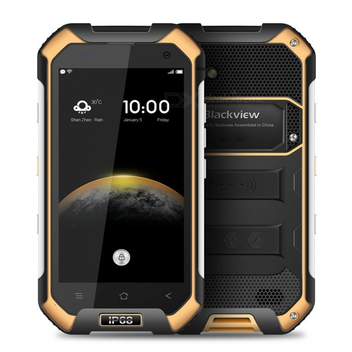 BLACKVIEW BV6000S Android 6.0 Smartphone w/ 2GB RAM 16GB ROM - YellowAndroid Phones<br>Form  ColorYellowRAM2GBROM16GBBrandBlackviewModelBV6000SQuantity1 setMaterialPVCShade Of ColorYellowTypeBrand NewPower AdapterEU PlugHousing Case MaterialPVCNetwork Type2G,3G,4GBand Details2G:GSM: 850/900/1800/1900(B5/8/3/2) 3G:WCDMA:850/900/1900/2100(B5/8/2/1) 4G:FDD-LTE:2100/1800/2600/900/800(B1/3/7/8/20)Data TransferGPRS,HSDPA,LTEWLAN Wi-Fi 802.11 a,b,g,nSIM Card TypeMicro SIMSIM Card Quantity2Network StandbyDual Network StandbyGPSYesNFCYesInfrared PortNoBluetooth VersionBluetooth V4.1Operating SystemAndroid 6.0CPU ProcessorMT6735 1.3GHZCPU Core QuantityQuad-CoreGPUARM Mali-T720-MP2 600MHzLanguageGlobal multinational languageAvailable Memory11GBMemory CardYesMax. Expansion Supported32GBSize Range4.5~4.9 inchesTouch Screen TypeIPSScreen Resolution1280*720Multitouch5Screen Size ( inches)4.7Camera Pixel8.0MPFront Camera Pixels2 MPFlashYesAuto FocusYesTouch FocusYesTalk Time24 hourStandby Time490 hourBattery Capacity4200 mAhBattery ModeNon-removableQuick ChargeYesfeaturesWi-Fi,GPS,FM,Bluetooth,NFCSensorG-sensor,Proximity,Compass,GestureWaterproof LevelOthers,IP68Dust-proof LevelYesShock-proofYesI/O InterfaceMicro USBSoftwareFacebook, Twitter, Google browser, Google map, Electric Torch, FM Radio, Email, Music, Clock, G-mail, Play store, Camera, Gallery, Voice Search, Messaging, QQ, WeChatFormat SupportedWAV, AMR, MP3, MID, 3GP, RM, MPEG-4, AVIJAVANoTV TunerNoRadio TunerFMWireless ChargingNoOther Features4.7 HD IPS + Dual Network Standby + Android6.0 +2GB RAM + 16GB ROM + Wi-Fi + GPS + FM +  2.0MP Front camera+ 8.0MP Rear camera + 4200mAh battery + Quad-Core + Bluetooth V4.1Reference Websites== Will this mobile phone work with a certain mobile carrier of yours? ==Packing List1 x Cell phone1 x Data cable1 x EU Plug Power adapter1 x User manual1 x Warranty manual<br>
